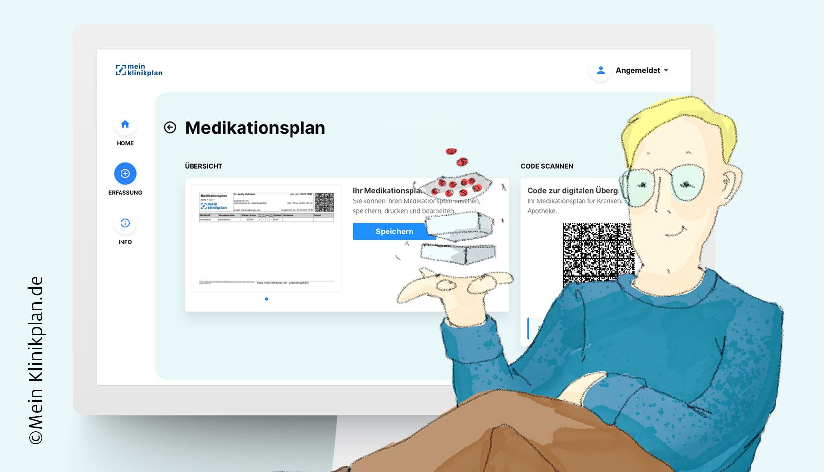 Ausschnitt aus mein.klinikplan.de mit Illustration eines zufriedenen, blonden Mannes mit Brille